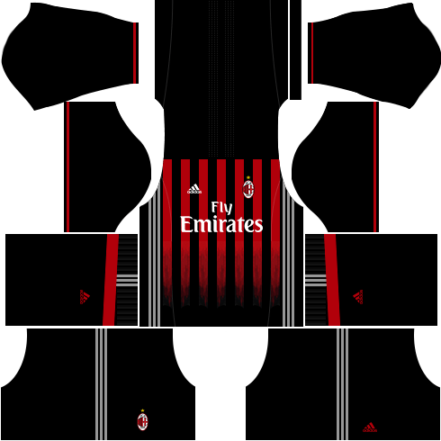 dream league soccer ac milan kits - home kit