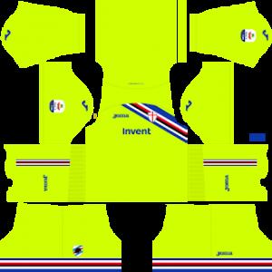 Dream League Soccer Sampdoria goalkeeper home kit 2018-2019